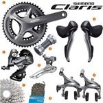 Grupo Kit Speed Road Shimano Claris R2000 Gs 50/34d 2x8v 16v Completo Cassete 11-34d 9 Peças