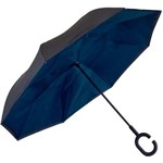 Guarda Chuva Sombrinha Invertido Dupla Face Azul com Preto