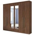Guarda Roupa Alonzo New 6 Portas com Espelho - Imbuia Soft
