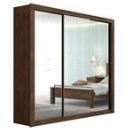 Guarda Roupa Casal C/ Espelho 3 Portas 3 Gavetas Apoena Super Glass Imbuia Soft Móveis Lopas