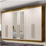 Guarda Roupa Casal com Espelho 6 Portas Diamante Leifer Canela/Off White