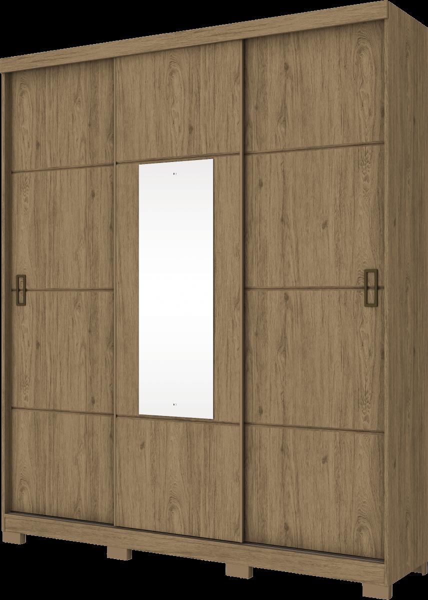 Guarda Roupa Henn Silver 3 Portas de Correr 1 Espelho Rústico