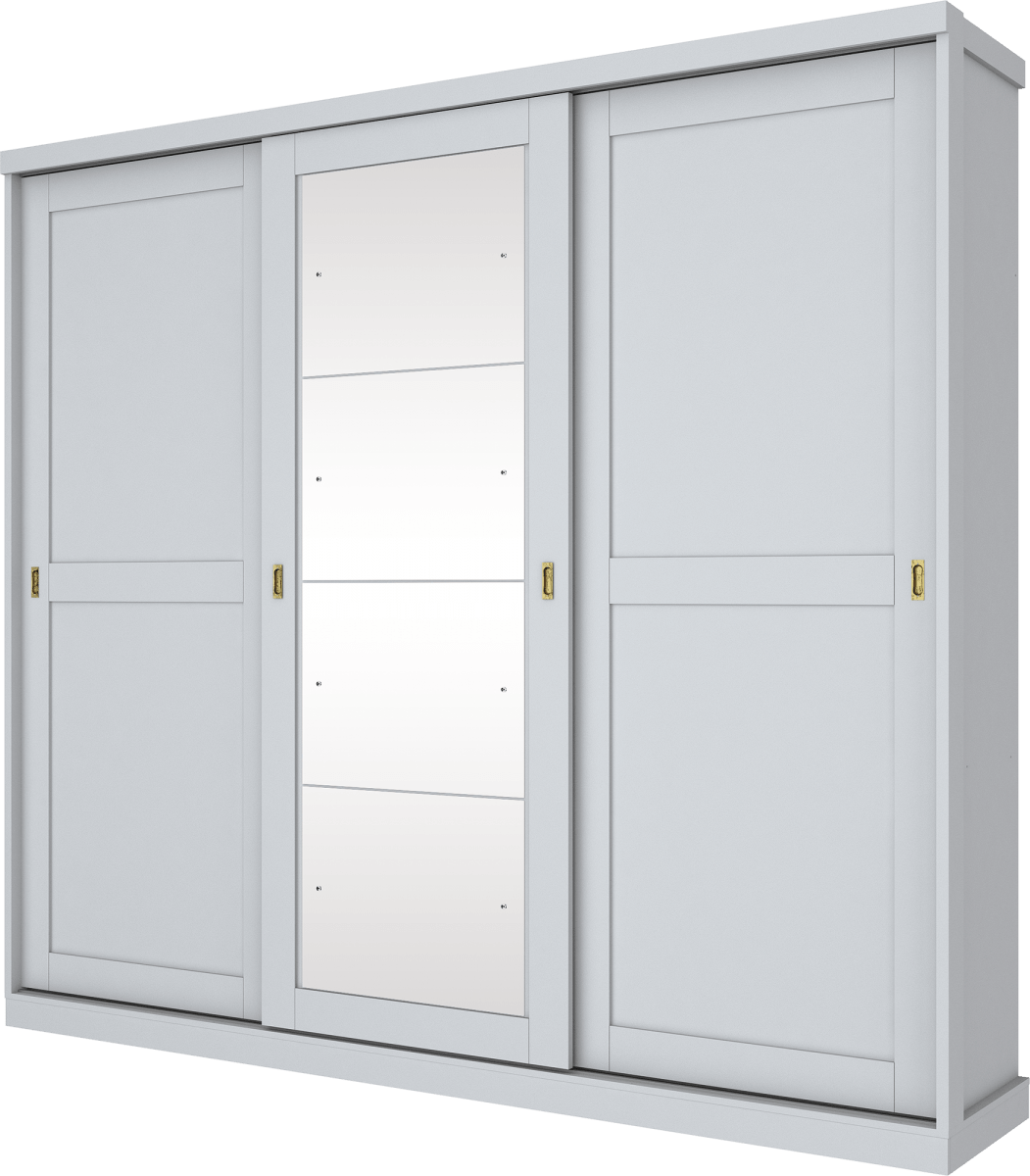 Guarda Roupa Olympia Henn 03 Portas com Espelho Deslizantes Branco Hp D223-05 BRANCO HP D22305BRANCOHP