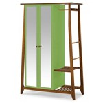 Guarda Roupa Solteiro Multiuso 2 Portas Stoka Maxima Nogal/green