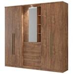 Guarda-roupa Zeus 1053 5 Portas C/ Espelho - Carraro