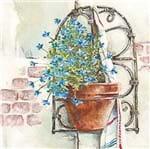 Guardanapo Toke e Crie Floreira Azul - 5 Unid
