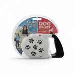 Guia Retrátil Pet Injet Dog Walker para Cães Até 30kg - 5 Metros Branca