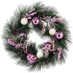 Guirlanda Bolas Brancas e Rosas 60cm Christmas Traditions Verde