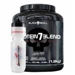 Hiper Proteíco Whey Protein 7 Blend Caveira Preta 1,8kg Amendoim + Squeeze Black Skull