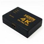 Hub Switch Hdmi 3x1 Ultra HD 4k 5 Porta Controle Remoto 3d