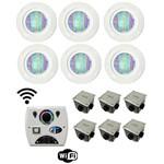 Iluminação Piscina Até 48m² Led Pool 61 Rgb Pratic 7w com 6 Refletores + Comando Four Fix - Sodramar