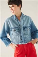 Jaqueta Cantão Cropped Jeans Stone - Azul,