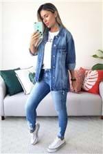 Jaqueta Colcci Jeans Indigo Loose Barra Desfiada - Azul