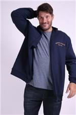 Jaqueta de Moletom com Bordado Plus Size Azul Marinho P