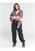 Jaqueta de Nylon Estampa Onça Stripe com Transfer - M