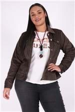 Jaqueta de Veludo Cotelê Plus Size Marrom M