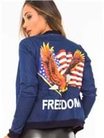 Jaqueta Feminina Bomber Jeans com Estampa JA0076 - Kam Bess