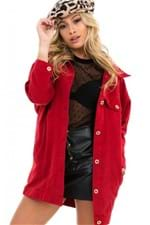 Jaqueta Feminina de Sarja Oversized Vermelha JA0117 - Kam Bess