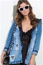Jaqueta Feminina Jeans Destroyed com Capuz JA0107 - Kam Bess