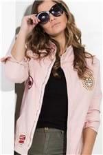 Jaqueta Feminina Jeans Rose Aplicação Patches JA0110 Kam Bess