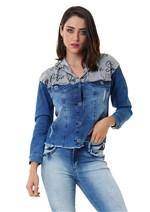 Jaqueta Jeans com Capuz e Botões