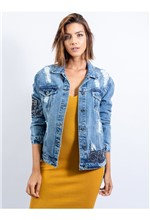 Jaqueta Jeans com Patchs Adesivo e Tachas - P