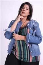 Jaqueta Jeans com Rasgos Plus Size Jeans Blue P