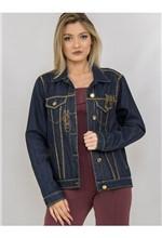 Jaqueta Jeans com Transfer e Correntes - 38