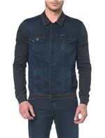 Jaqueta Jeans Moletom Black Blue - Marinho - P