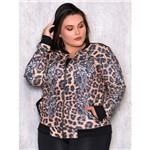 Jaqueta Plus Size Animal Print com Detalhe em Cirrê P