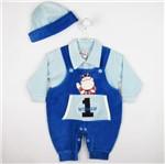 Jardineira Bebê Masculina Longa Plush Boné Azul Royal e Azul Claro-M