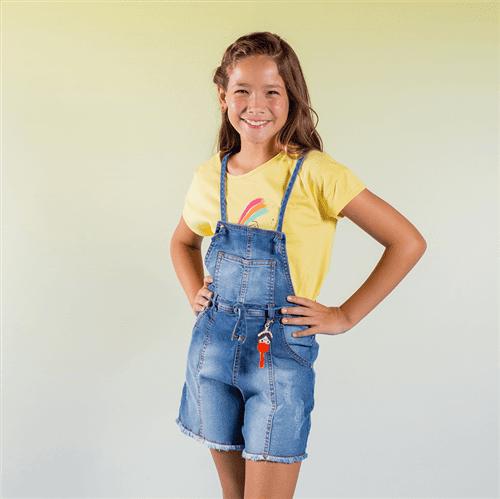 Jardineira Divertido Jeans/12 e 14