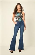 Jeans Flare Rebites Enfim Azul - 36