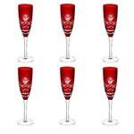 Jogo 6 Taças 150ml Vidro para Champagne Lapidadas Tropicalis Vermelho Lyor - L6603