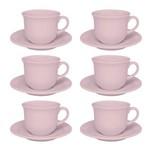 Jogo 6 Xícaras com Pires para Chá Floreal Milenial Rosa Oxford