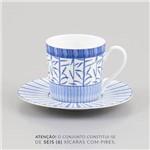 Jogo 6 Xícaras de Chá com Pires Blue Dream em Porcelana