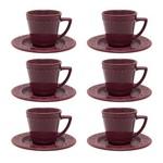 Jogo 6 Xícaras de Chá com Pires Mendi Corvina Bordô Oxford