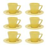 Jogo 6 Xícaras de Chá com Pires Mendi Sicília Amarelo Oxford