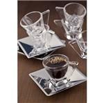 Jogo 6 Xícaras para Chá de Vidro com Píres de Aço Inox Veneza