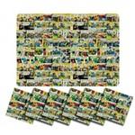 Jogo Americano Quadrinhos DC Comics com Porta Copos (12 Peças)