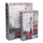 Jogo Caixa Livros London Madeira 2 Peças