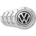 Jogo Calota Centro Miolo Roda Audi Rs4 Prata Emblema Vw