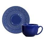 Jogo de 6 Xícaras de Chá com Pires Greek Azul Navy