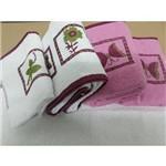 Jogo de Banho 5pçs Florata Bicolor Bordado Rosa C/ Branco