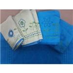 Jogo de Banho 5pçs Garden Bicolor Bordado Azul C/ Verde