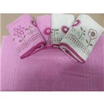 Jogo de Banho 5pçs Garden Bicolor Bordado Rosa C/ Bege