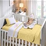 Jogo de Berço 3 Peças em Malha Bordada 100% Algodão Buettner Baby Kitty Love Amarelo