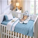 Jogo de Berço 3 Peças em Malha Bordada 100% Algodão Buettner Baby Little Dog Azul