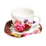 Jogo de Café com 12 Peças Rosas 90ml de Porcelana DMP2550 DM BRASIL