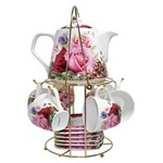 Jogo de Cafe de Porcelana 14 Peças Xicaras Bule de Rosas